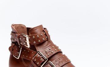 Cut Out Stud Ankle Boots