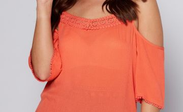 Coral Cold Shoulder Peplum Hem Top