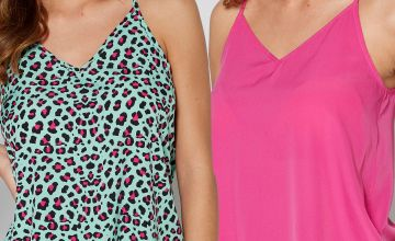 Pack of 2 Animal Print/Pink Woven Cami Tops