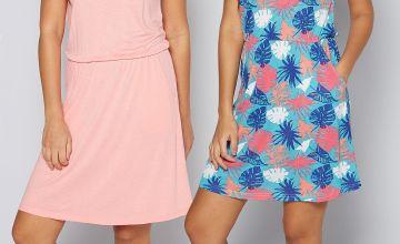 Pack of 2 Aqua Floral + Coral Dresses