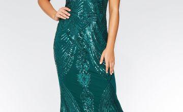 Quiz Sequin High Neck Fishtail Maxi Dress