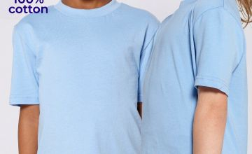 Pack of 2 Unisex Crew Neck Blue T-Shirts