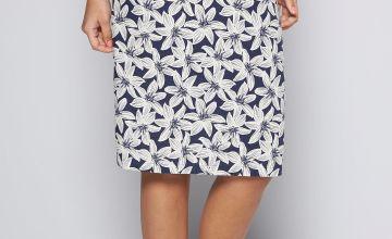 Hawaiian Navy Flower Linen Skirt