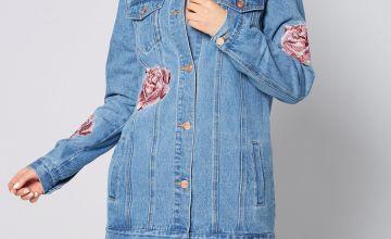 Longline Embellished Denim Jacket