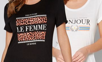 Pack of 2 Bonjour and Le Femme Graphic T-Shirts