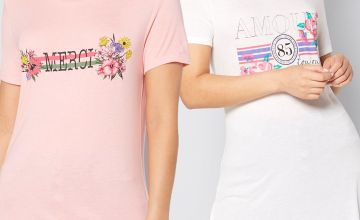Pack of 2 Amour and Merci Graphic T-Shirts