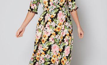 Floral Maxi Dress with Pom Pom Detail