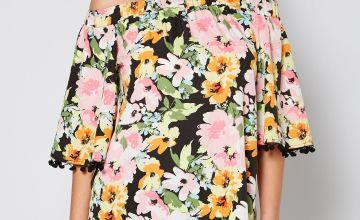 Floral Bardot Top with Pom Pom Detail