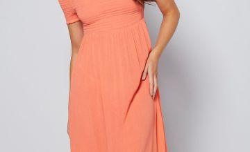 Bardot Shirred Detail Midi Dress