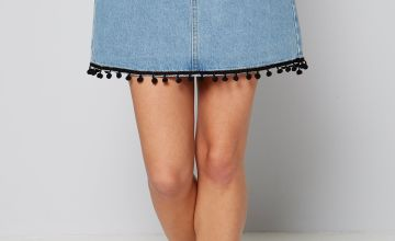 Pom Pom Trim Denim Skirt