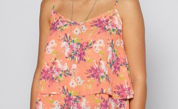 Printed Cami Top with Necklace