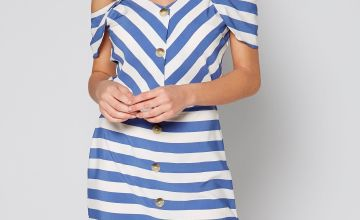 Cold Shoulder Navy Striped Dress