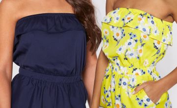 Pack of 2 Navy + Daisy Print Bandeau Frill Playsuits