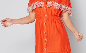 Horn Button Bardot Frill Dress