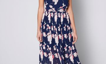 Navy Floral Midi Dress with Fascinator