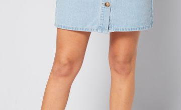 Horn Button Denim Skirt