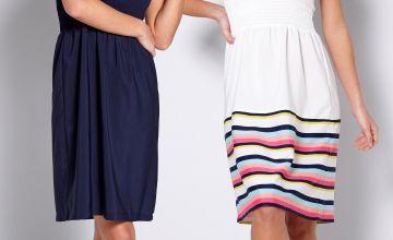Pack of 2 Navy + Stripe Bandeau Dresses