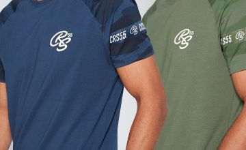 CRS55 Pack of 2 Navy/Green T-Shirts