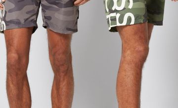 Crosshatch Pack of 2 Fling Cross Camo Swim Shorts