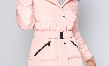 Luxe Belted Pink Padded Midi Coat