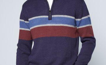Neck Stripe Knitted Jumper