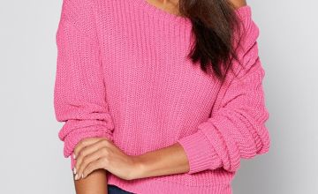 Off the Shoulder Pink Cropped Jumper