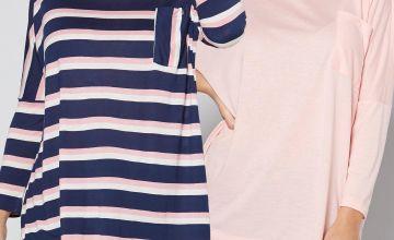 Pack of 2 Drop Shoulder Stripe Pink + Navy Top
