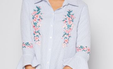 Embellished Stripe Flute Sleeve Shirt