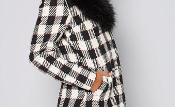 Monochrome Check Faux Fur Trim Coat