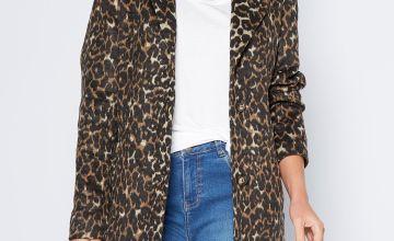 Leopard Print Longline Coat