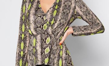 Wrap Front Snake Print Top