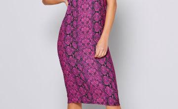 Neon Snake Print Slip Dress