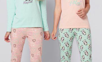 Girls Pack of 2 Panda Slogan Pyjamas