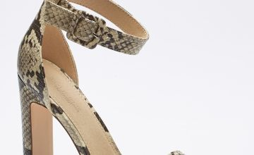 Barely There Ankle Strap Snakeskin Print High Heels