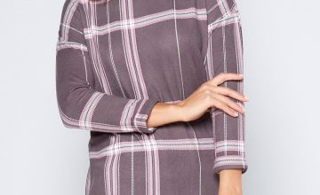 Brushed Large Check Pattern Printed Tunic Top