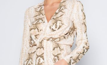 Knot Front Snake Print Blouse