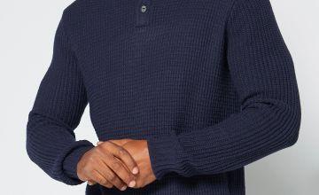 Button Up Neck Knitted Jumper Denim Marl/Navy