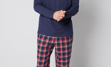 Long Sleeve Grandad Top and Flannel Cuff Bottom Pyjama Set