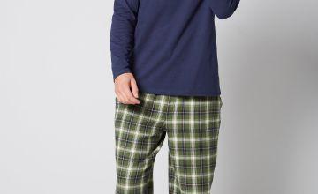 Long Sleeve Grandad Top and Flannel Bottom Pyjama Set