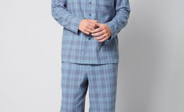 Check Flannel Button Up Pyjama Shirt and Pant Set