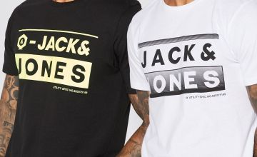 Jack and Jones Pack of 2 Black + White T-Shirts