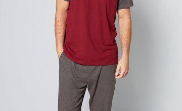 Jersey Raglan T-Shirt and Cuff Trouser Pyjama Set