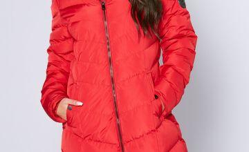 DFND Lotus Longline Red Padded Jacket