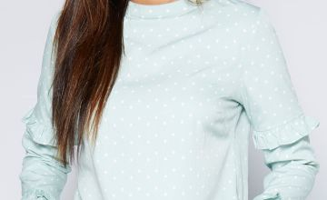Frill Detail Mint Polka Dot Boxy Blouse