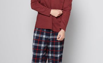 Burgundy Long Sleeve Grandad T-Shirt and Fleece Pant Pyjama Set