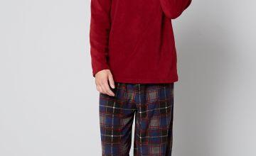 Fleece Grandad Top and Fleece Trouser Pyjamas