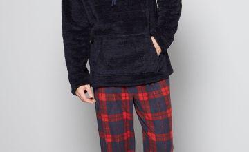 Navy/Red Cowl Neck Ribbon Tie Pyjama Gift Set