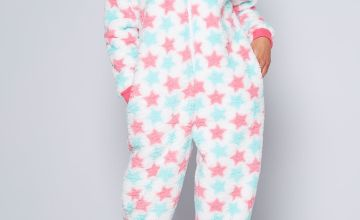 Star Print Fluffy Onesie