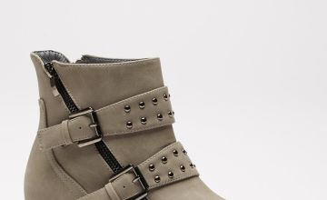 Double Strap Studded Biker Boots