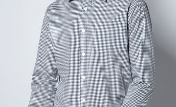 Long Sleeve Checked Twill Shirt